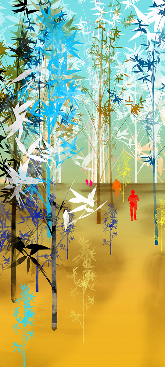 wall graphic illustration of a bamboo forest