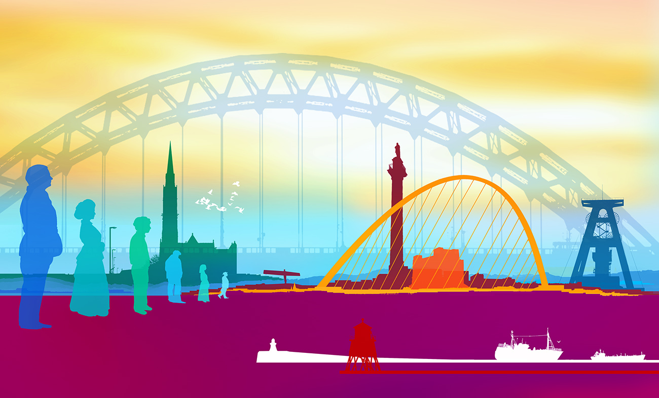 wall graphic illustration of Newcastle