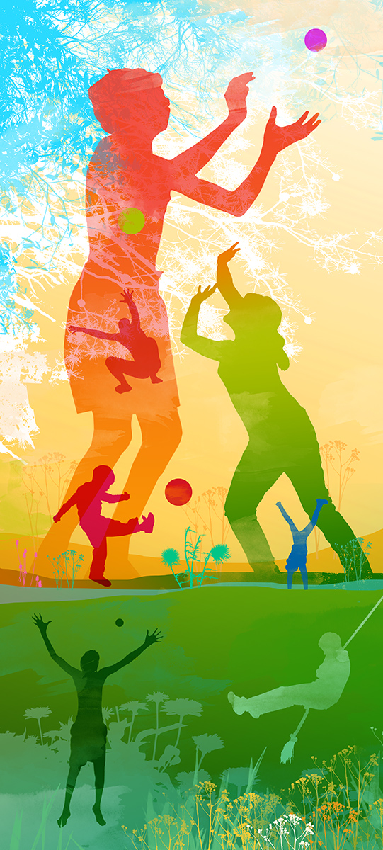 wall graphic illustration children playing
